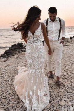 Designer Brautkleider Meerjungfrau | Hochzeitskleider Spitze | Babyonlinedress.de