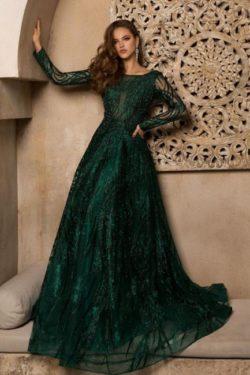 Elegante Abendkleider Lang Grun | Abiballkleider Glitzer mit armel | Babyonlinedress.de