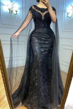 Elegante Abendkleider Lang Schwarz | Abiballkleider mit Glitzer | Babyonlinedress.de