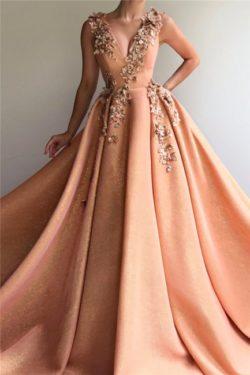 Elegante Abendkleider Lang V Ausschnitt | Abiballkleider Glitzer | Babyonlinedress.de