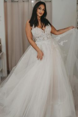 Elegante Brautkleider Tull | Hochzeitskleider A Linie Spitze | Babyonlinedress.de