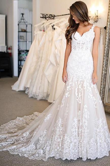 Elegante Hochzeitskleider Meerjungfrau Spitze | Brautkleider Online Kaufen | Babyonlinedress.de