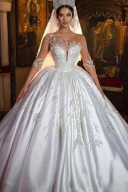 Extravagante Hochzeitskleider Prinzessin | Brautkleider Mit armel | Babyonlinedress.de