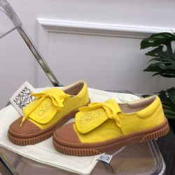 Loewe Anagram Flap Sneaker Women Canvas In Yellow