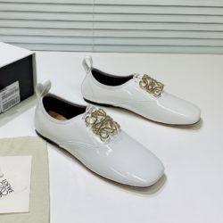 Loewe Anagram Soft Derby Women Patent Calfskin In White