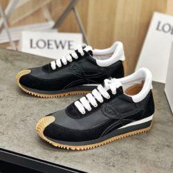 Loewe Ballet Runner Sneaker Women Nylon and Calfskin In Black