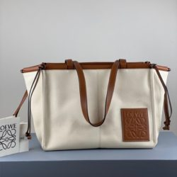 Loewe Cushion Tote Bag Canvas and Calfskin In Brown