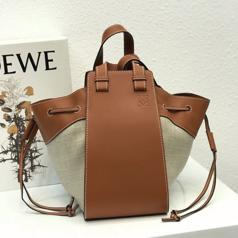 Loewe Hammock Drawstring Bag Calfskin/Canvas In Brown