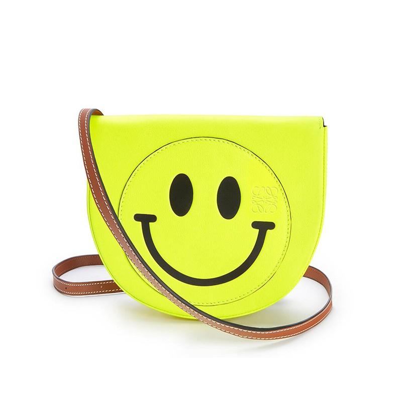 Loewe Heel Bag x Smiley Soft Calfskin In Lemon