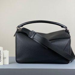 Loewe Large Puzzle Bag Grained Calfskin In Black