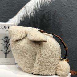 Loewe Mini Bunny Bag Shearling In White