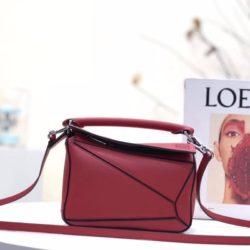 Loewe Mini Puzzle Bag Classic Calfskin In Red