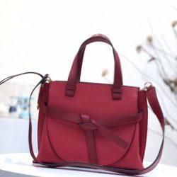 Loewe Small Gate Top Handle Bag Grained Calfskin In Red