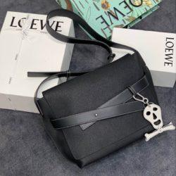 Loewe Small Strap Messenger Grained Calfskin In Black