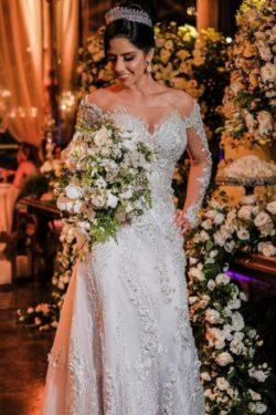 Luxus Brautkleider mit armel | Hochzeitskleider A Linie Spitze | Babyonlinedress.de