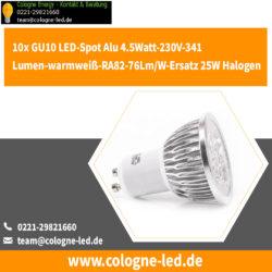10x GU10 LED-Spot Alu 4.5Watt-230V-341Lumen-warmweiß-RA82-76Lm/W-Ersatz 25W Halogen