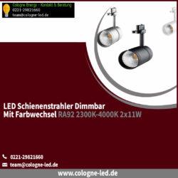 LED Schienenstrahler dimmbar mit Farbwechsel RA92 2300K-4000K 2x11W