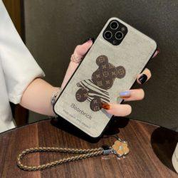 ブラント iPhone13ケース ルイヴィトン風 アイフォン13プロカバー クマ ストラップ付き iPhone12/12pro ...