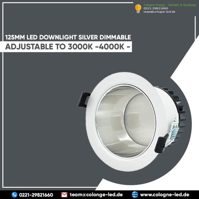 125mm LED downlight silver dimmable adjustable to 3000K -4000K – 5700K