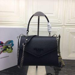 Prada 1BA186 Saffiano Leather Monochrome Bag In Black
