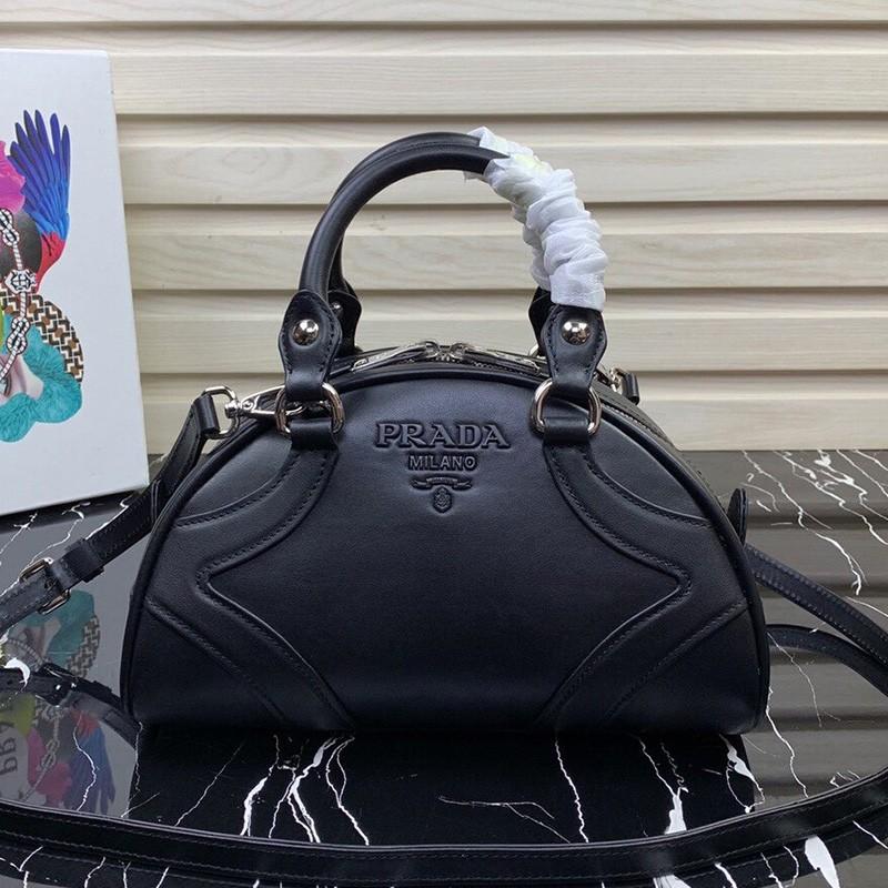 Prada 1BD071 Calf Leather Bowling Bag In Black