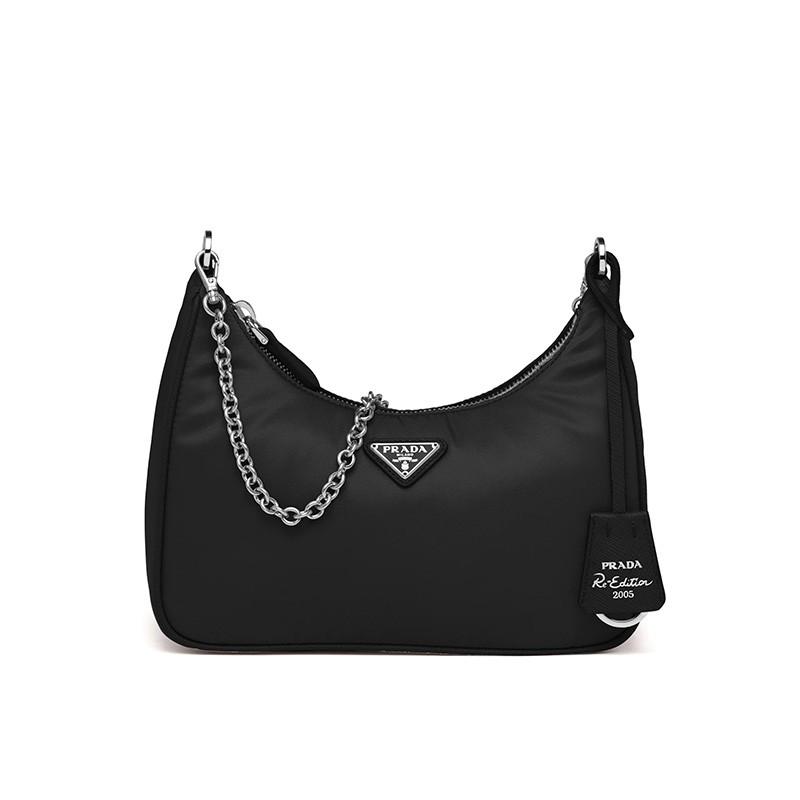 Prada 1BH204 Nylon Hobo Bag In Black