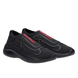 Prada 4E3392 Men Fabric Sneakers In Black