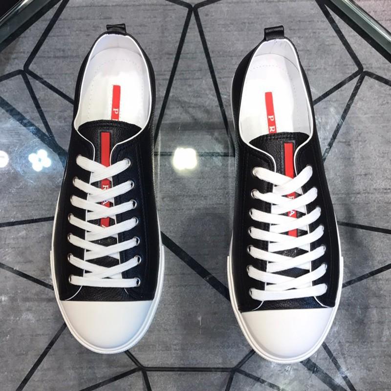 Prada Stripe Logo Men Calfskin Sneakers In Black